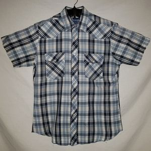 Wrangler western shirt mens M vintage plaid snap